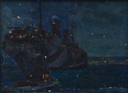 Arthur Lismer, Dazzle Ship at Night, 1916-1918